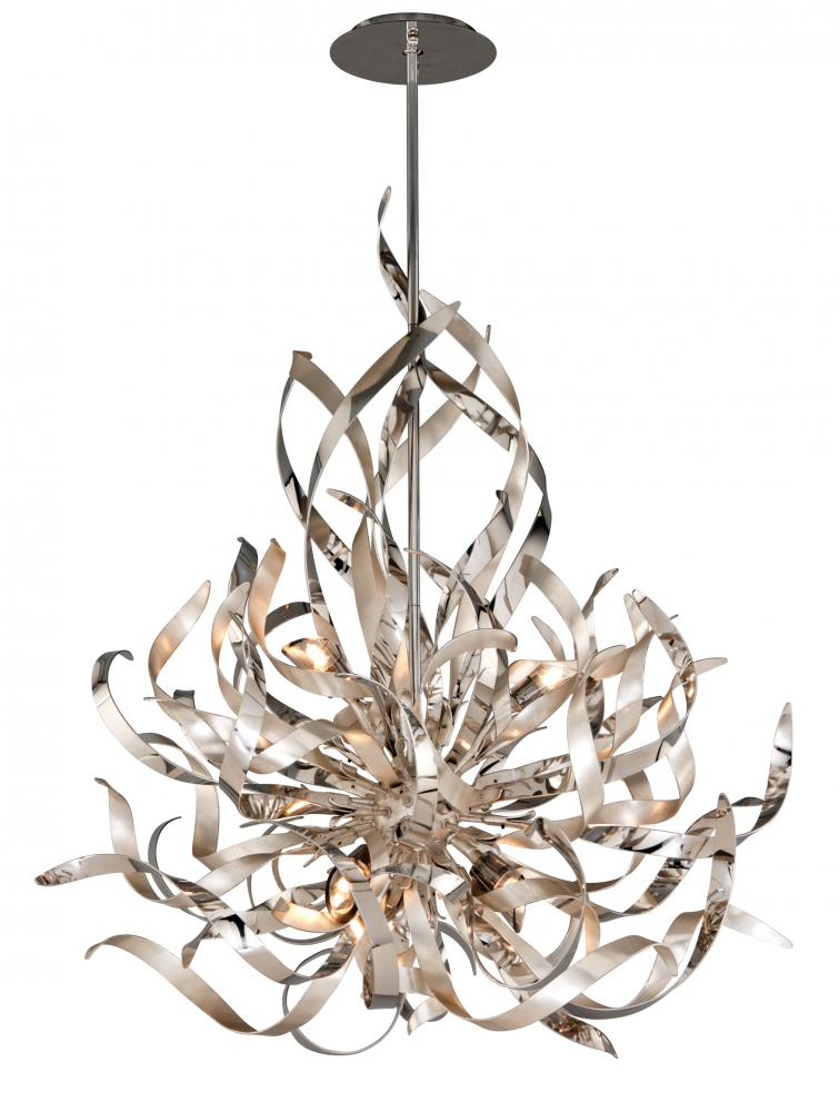 Graffiti 6 Light Pendant in Silver Leaf and Polished Stainless by Corbett Lighting