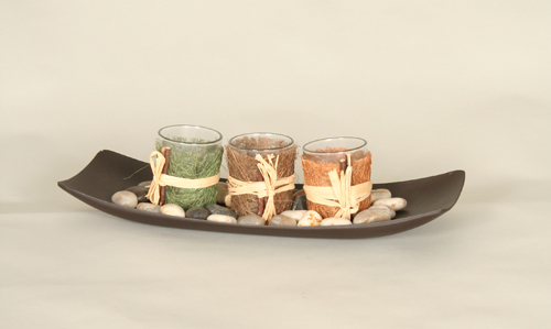 Three candle center piece w/ tray.