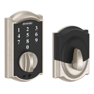 Schlage Camelot Touchscreen Satin Nickel Deadbolt.