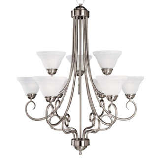 9-light satin nickel chandelier