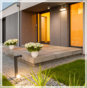 exterior lighting and greenery