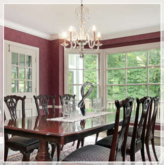 traditional dining room with large chandelier